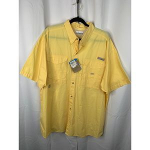 New Columbia yellow vinted button down shirt XL
